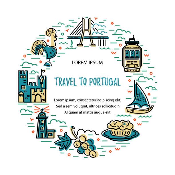 ilustrações de stock, clip art, desenhos animados e ícones de circle frame with symbols of portugal. - eletrico lisboa