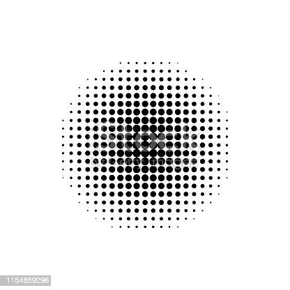 Circle geometric halftone. Gradient element. Retro abstract decoration. Vintage wallpaper. EPS 10
