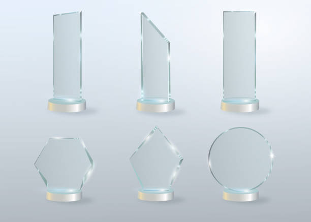 circle glass trophy award. vector illustration isolated on grey background - acrylic painting stock illustrations