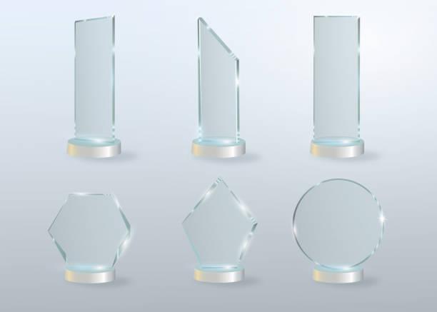 Circle Glass Trophy Award. Vector illustration isolated on grey background Circle Glass Trophy Award. Vector illustration isolated on grey background acrylic painting stock illustrations