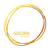 Circle Gold Foil Frame Isolated Background. Geometric Golden Frame Invitation Card Template. Gold Ring, Line Art. Vector Gold Border Design Element for Birthday, New Year, Christmas Card, Wedding Invitation.