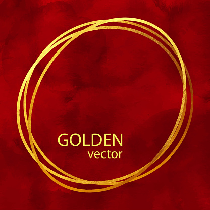 Circle Gold Foil Frame Isolated on Red Watercolor Background. Geometric Golden Frame Invitation Card Template. Gold Ring, Line Art. Vector Gold Border Design Element for Birthday, New Year, Christmas Card, Wedding Invitation.