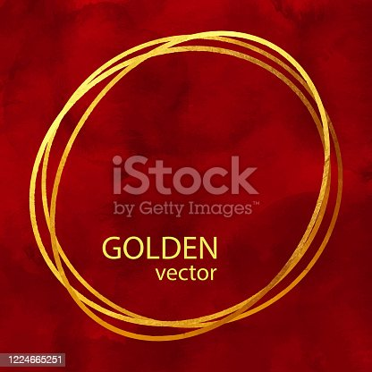 istock Circle Gold Foil Frame Isolated on Red Watercolor Background. Geometric Golden Frame Invitation Card Template. Gold Ring, Line Art. Vector Gold Border Design Element for Birthday, New Year, Christmas Card, Wedding Invitation. 1224665251