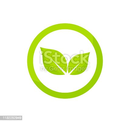 istock Circle green leaves logo concept. 1132252949