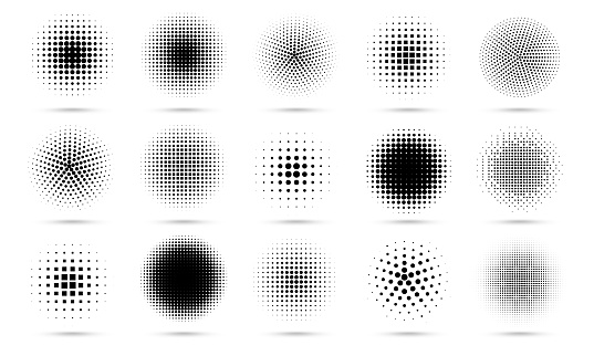 Circle halftone. Abstract dotted circles, round halftones geometric dots gradient and pop art texture. Dot spray gradation vector set