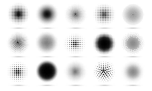 Circle halftone. Abstract dotted circles, round halftones geometric dots gradient and pop art texture. Dot spray gradation vector set Circle halftone. Abstract dotted circles, round halftones geometric dots gradient and pop art texture. Dot spray gradation vector set. Illustration halftone gradient spotted, effect round circle stock illustrations