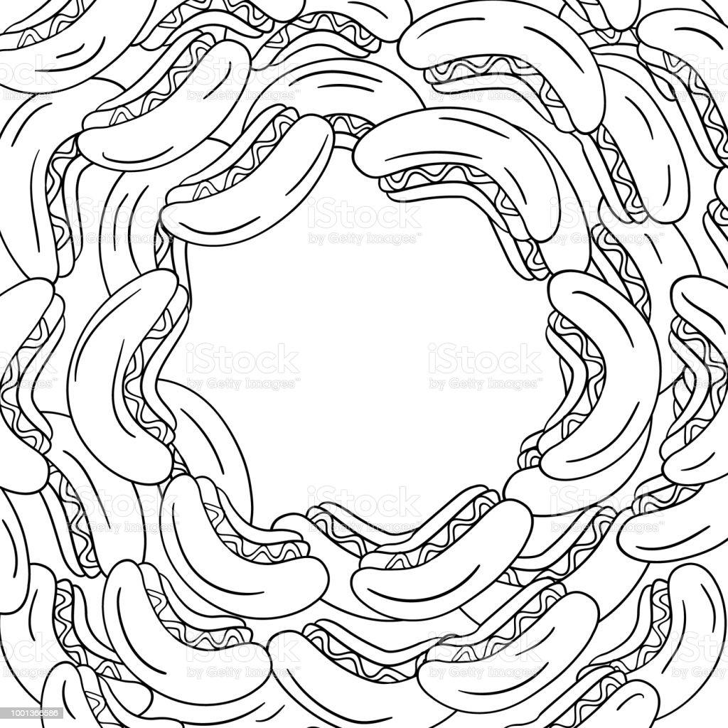 Ilustración de Marco De Arte De Perrito Caliente Círculo En Vector y ...