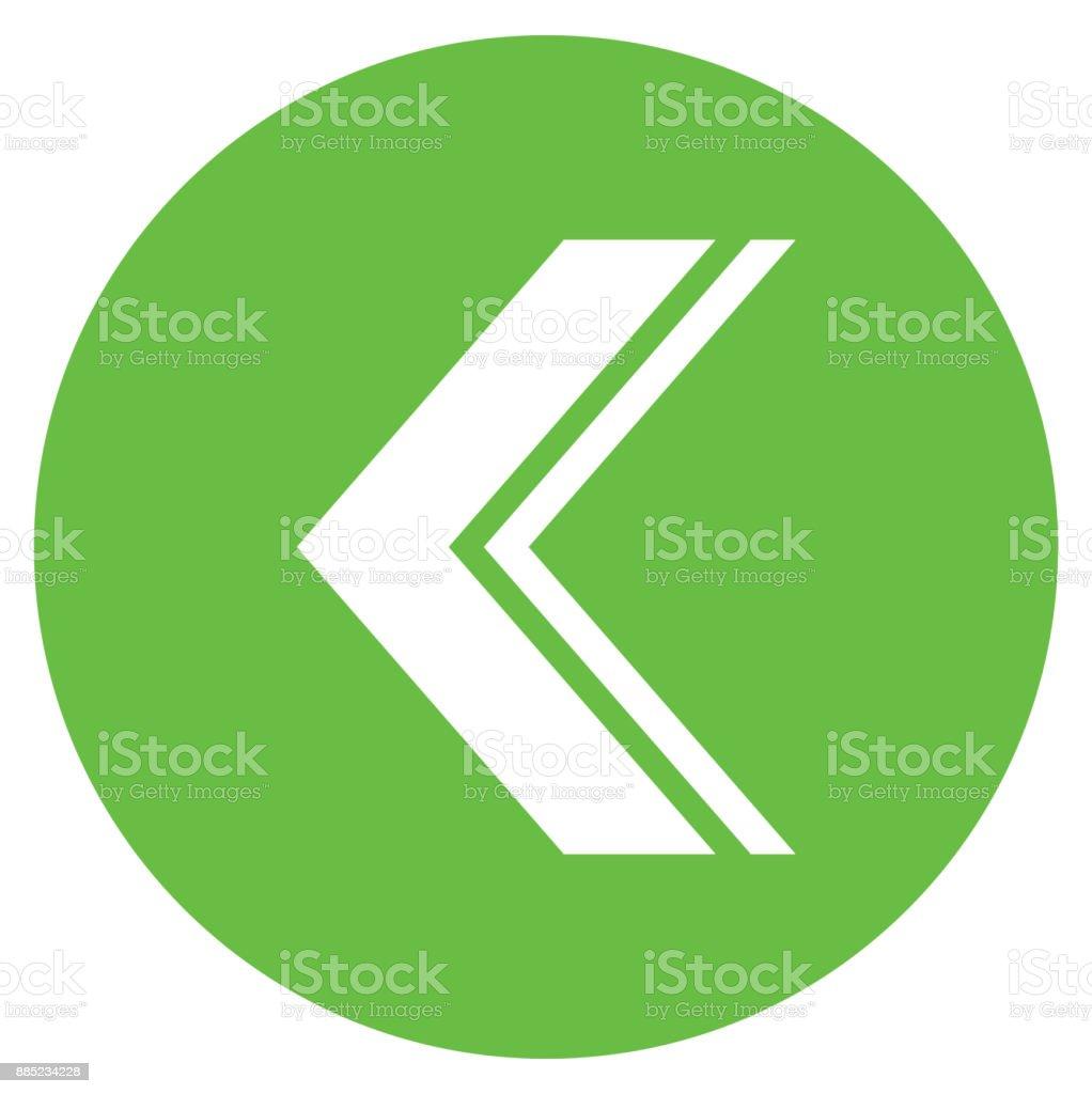Circle icon arrow sign Left vector art illustration