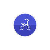 Kids tricycle icon in flat color circle style. Playing game toy