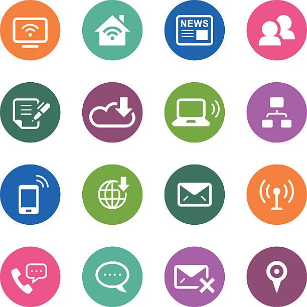 서클 아이콘 시리즈/통신 - home icon stock illustrations