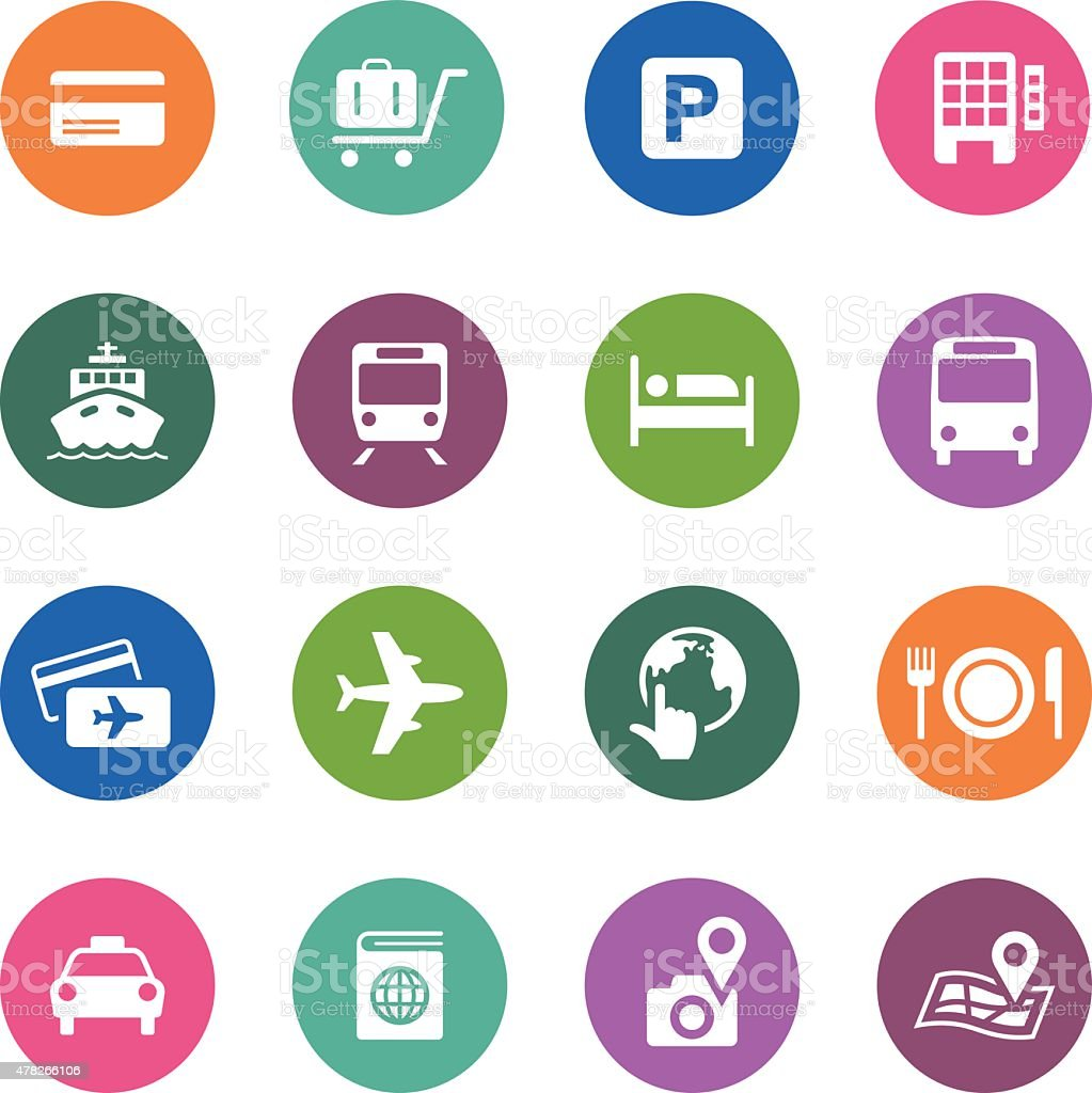 Circle Icons Series   Travel vector art illustration