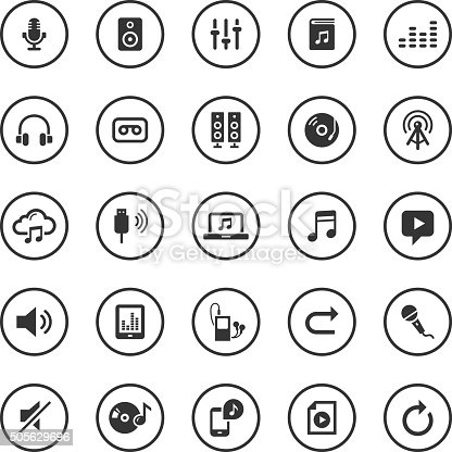 An illustration of audio icons set for your web page, presentation, & design products.