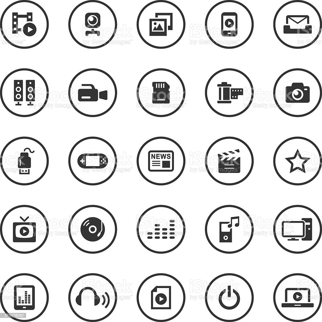 Circle Icons Set | Media vector art illustration
