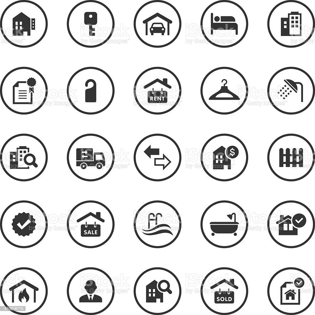 Circle icons set real estate stock vector art more images of circle icons set real estate royalty free circle icons set real estate stock vector biocorpaavc Image collections