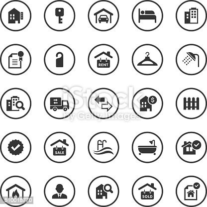 An illustration of real estate icons set for your web page, presentation, & design products.