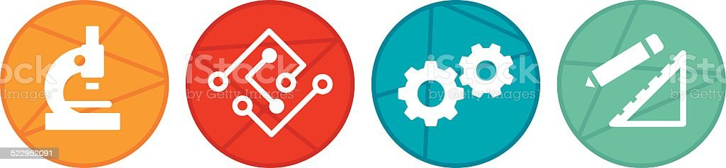 STEM Circle Icons vector art illustration