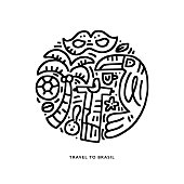Hand drawn illustration with symbols of Brasil made in doodle style. Round concept vector drawing.