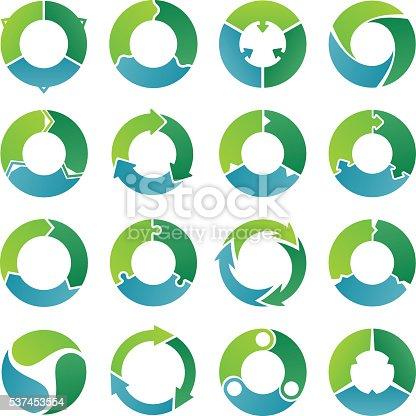 Set of circle infographic. Three steps.