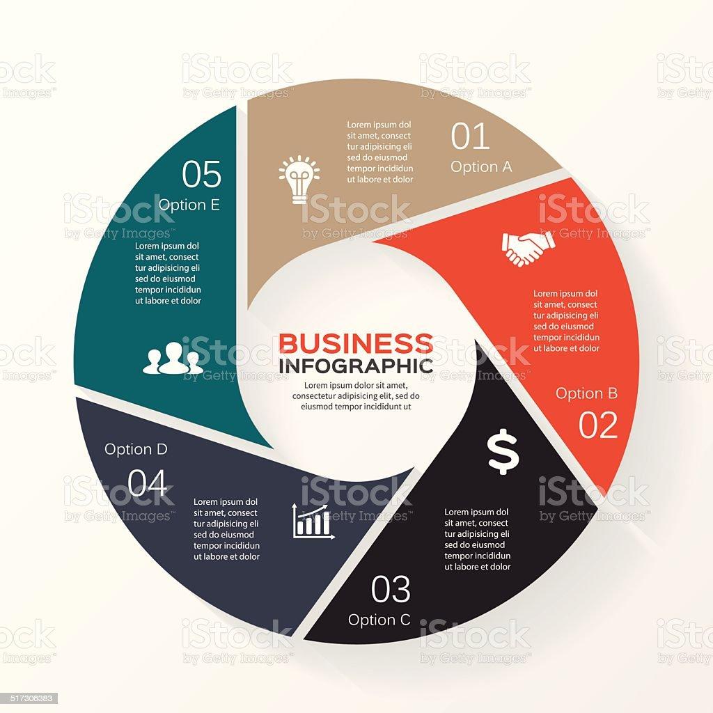 Circle infographic, diagram, presentation 5 options vector art illustration