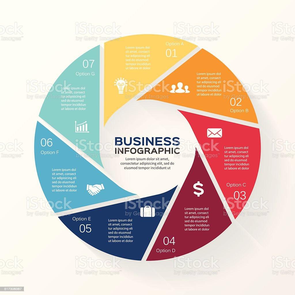 Circle infographic, diagram, presentation 7 options vector art illustration