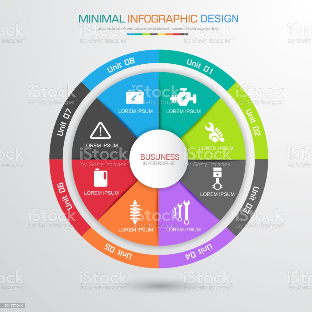 circle infographic elements with car service icon on full color rh istockphoto com