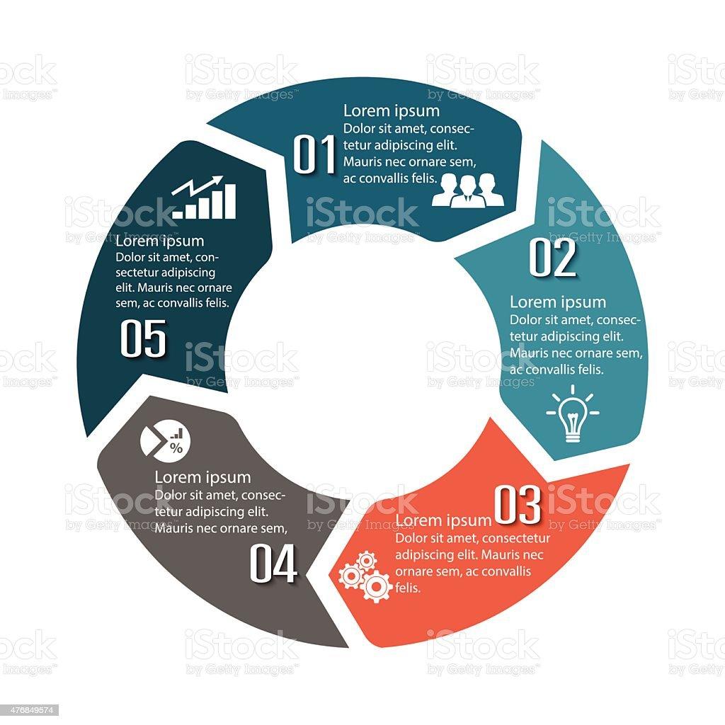Circle infographic label five option colorful design vector art illustration