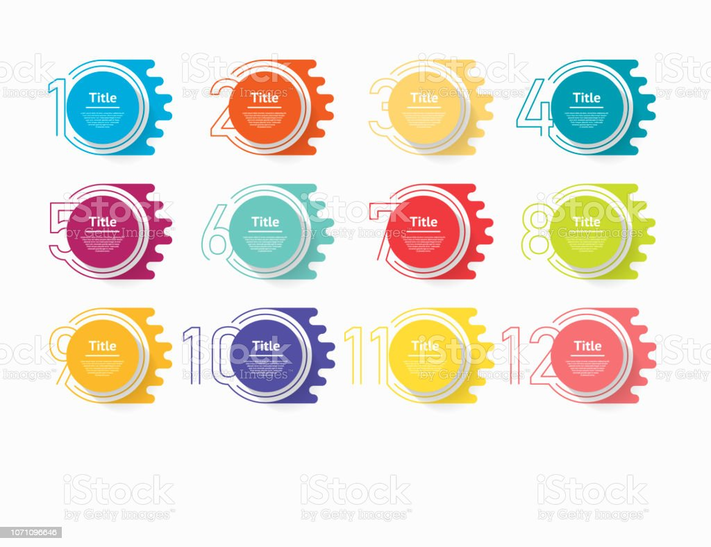 Circle infographic number options. Design vector template can be used for workflow layout, diagram, presentation, web design. Business concept with 12 options, steps or processes - Grafika wektorowa royalty-free (12-ta Godzina)