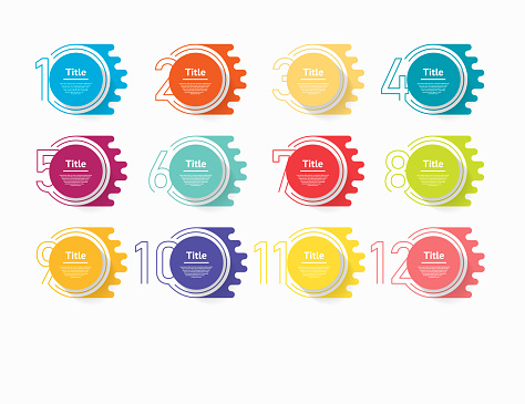 Circle Infographic Number Options Design Vector Template Can Be Used For Workflow Layout Diagram Presentation Web Design Business Concept With 12 Options Steps Or Processes - Stockowe grafiki wektorowe i więcej obrazów 12-ta Godzina