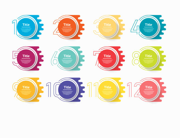circle infographic number options. design vector template can be used for workflow layout, diagram, presentation, web design. business concept with 12 options, steps or processes - pojedynczny stopień stock illustrations