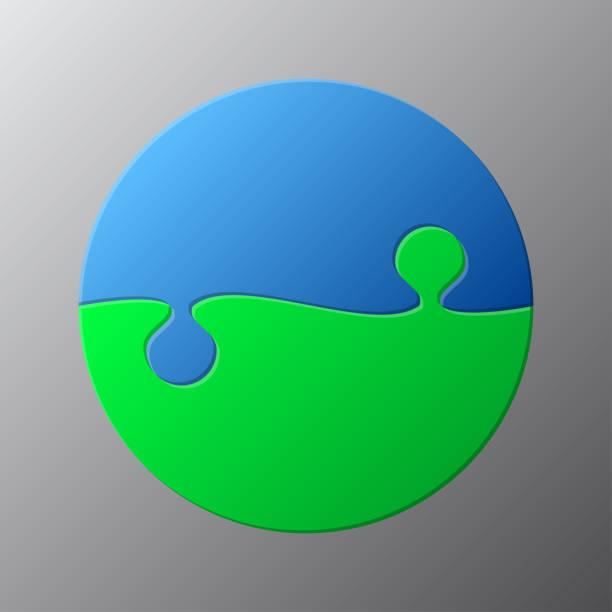 bildbanksillustrationer, clip art samt tecknat material och ikoner med cirkel infographic pussel pussel två separata steg, bitar, mosaik, detaljer, kakel, delar. - två objekt