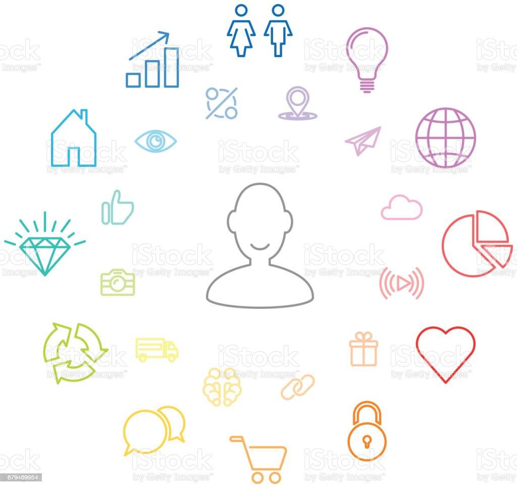 圈子的資訊圖表,社交網路。通用圖示 免版稅 圈子的資訊圖表社交網路通用圖示 向量插圖及更多 人 圖片