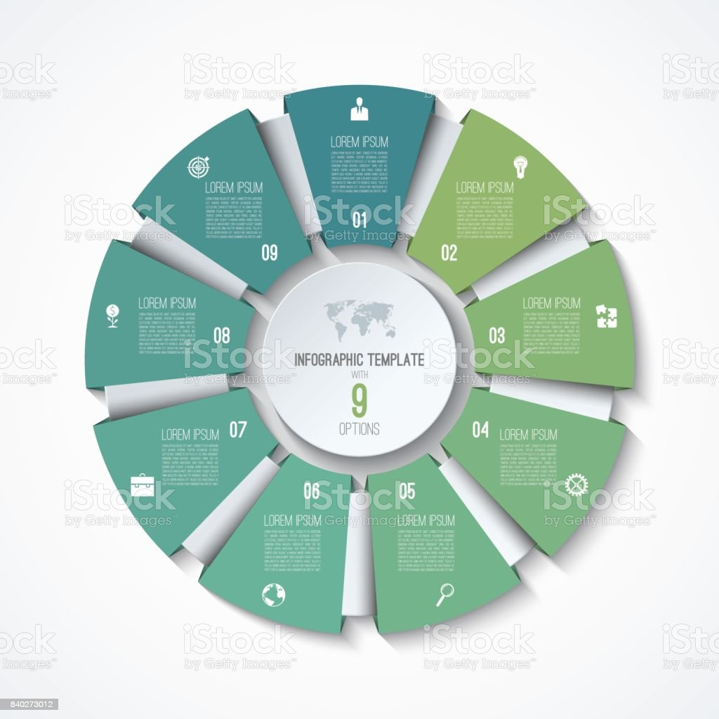 circle infographic template process wheel vector pie chart business