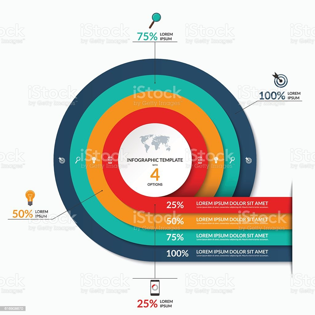 Circle infographic template. Vector banner with 4 options vector art illustration