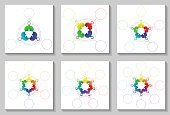 Set of sircle infographic templates 3-8 steps and central element. Colorful parts on white background, puzzle elements. For presentation and design concept. Vector illustration.