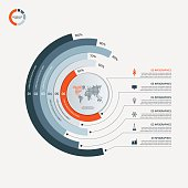 Circle infographic template with 6 options. Business concept. Vector illustration.