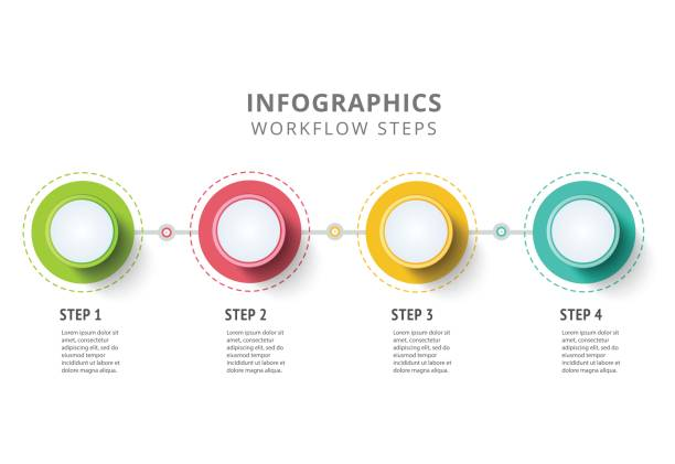 circle infographics elements design. abstract business workflow - infographics stock illustrations, clip art, cartoons, & icons