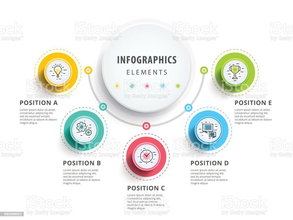 Diseño de elementos de infografía del círculo. Flujo de trabajo abstracto - ilustración de arte vectorial