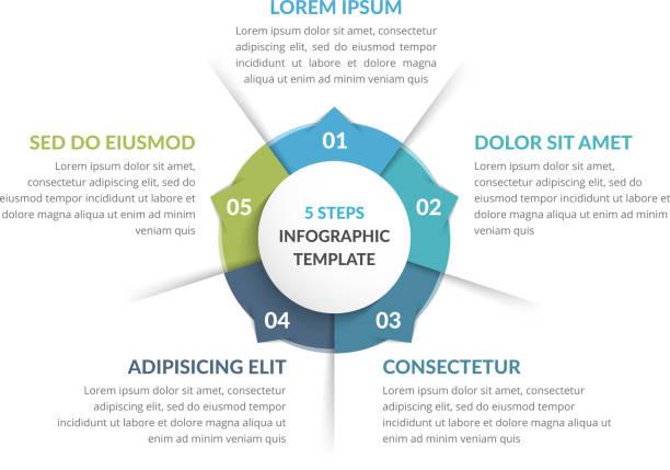 stockillustraties, clipart, cartoons en iconen met circle infographics-vijf elementen - vijf dingen