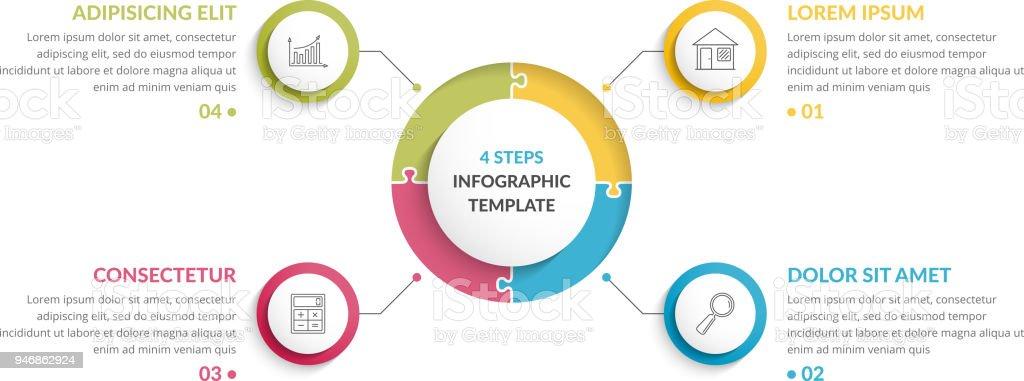 Circle Infographics - Four Elements – artystyczna grafika wektorowa