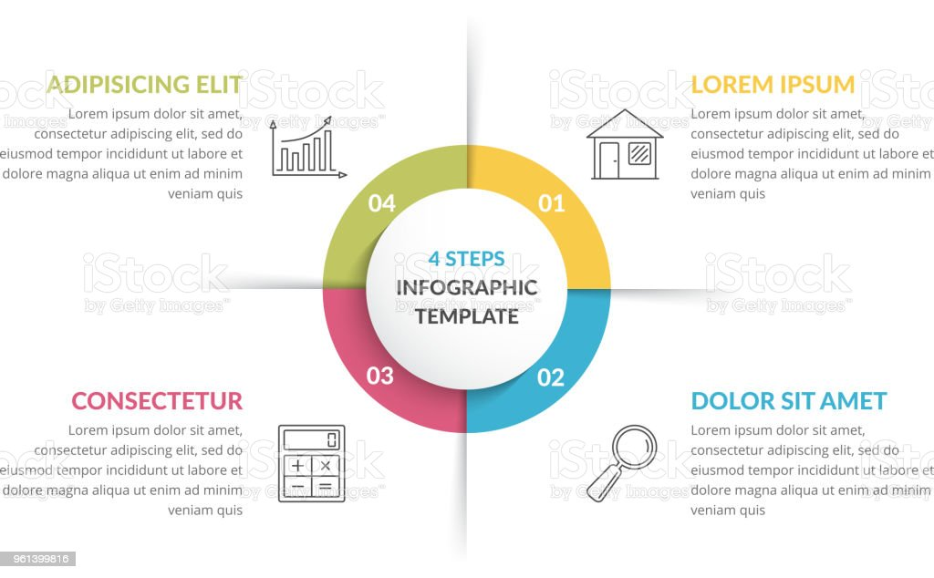 Circle Infographics - Four Elements royalty-free circle infographics four elements stock illustration - download image now