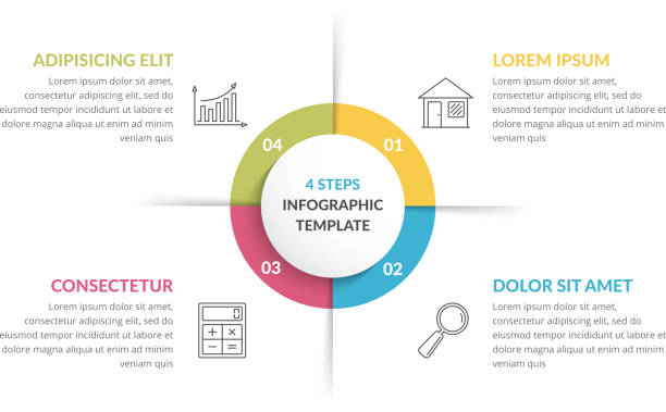 Circle Infographics - Four Elements Circle infographic template with four steps or options, process chart, vector eps10 illustration infographic stock illustrations