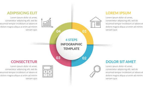 サークル インフォ グラフィック - 4 つの要素 - ステップ点のイラスト素材/クリップアート素材/マンガ素材/アイコン素材