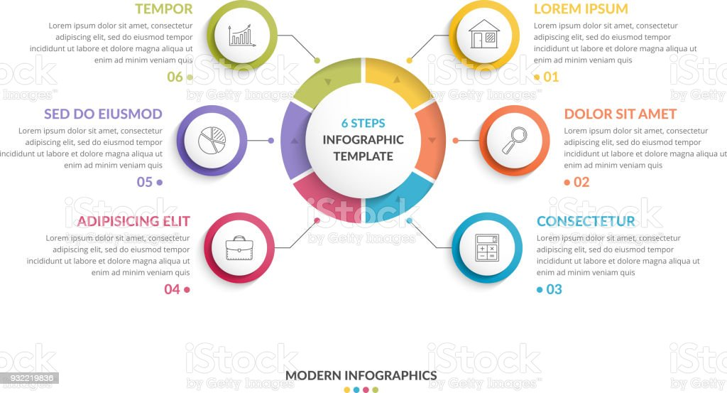 Circle Infographics - Six Elements royalty-free circle infographics six elements stock illustration - download image now