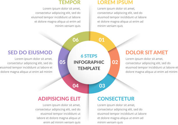 circle infographics - six elements - zagadnienia stock illustrations