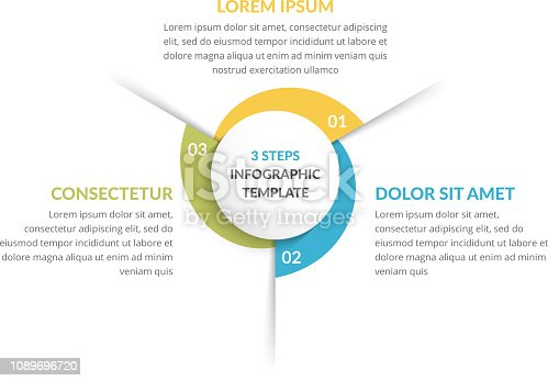 Circle infographic template with three steps or options, process chart, vector eps10 illustration