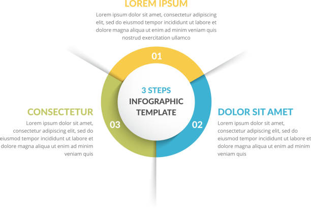 circle infographics - three elements - infographics stock illustrations, clip art, cartoons, & icons