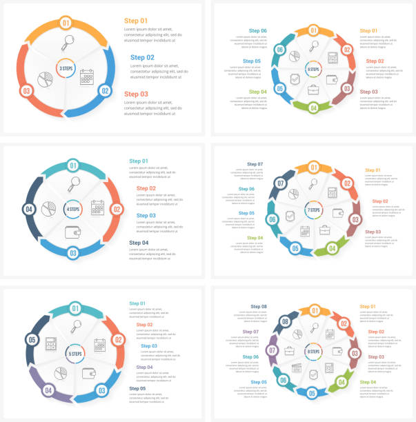 circle infographics - rower stock illustrations