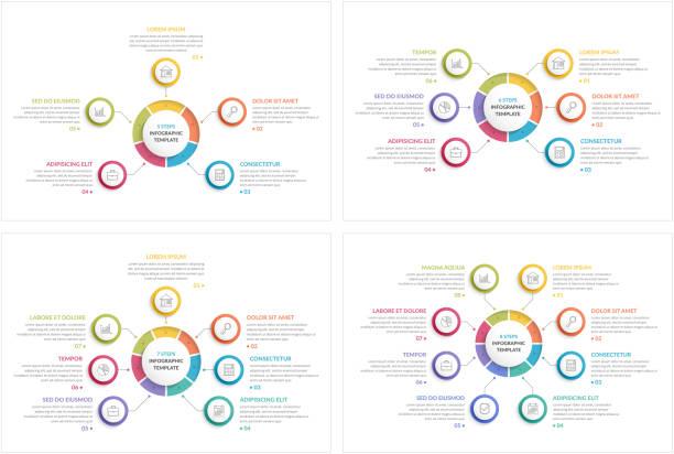 stockillustraties, clipart, cartoons en iconen met cirkel infographics - vijf dingen
