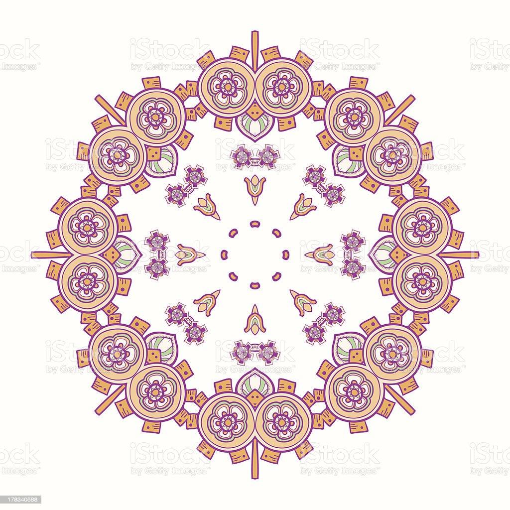 Circle lace steampunk ornament, round ornamental geometric pattern royalty-free stock vector art