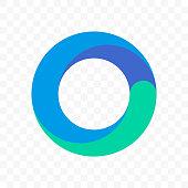 Circle line logo. Vector icon of blue gradient circular lines